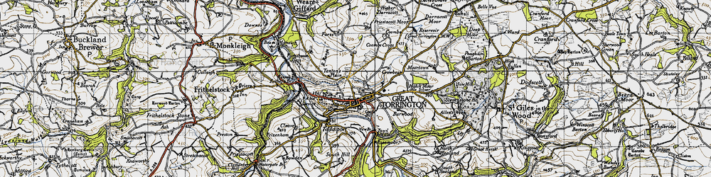 Old map of Great Torrington in 1946