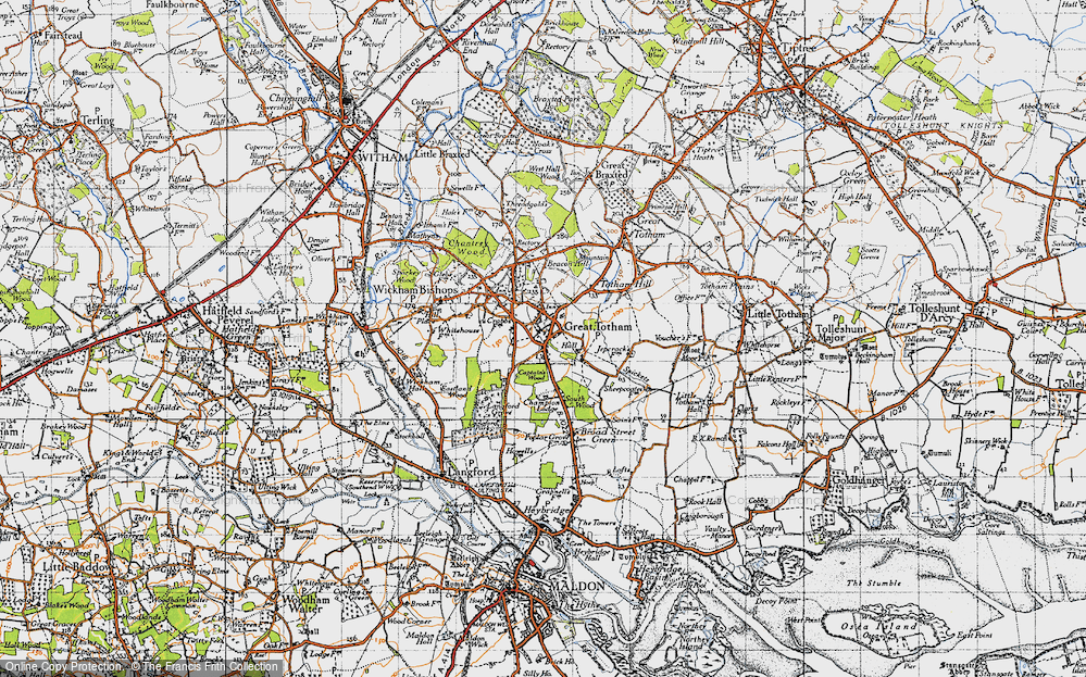 Old Map of Historic Map covering Langford Grove in 1945