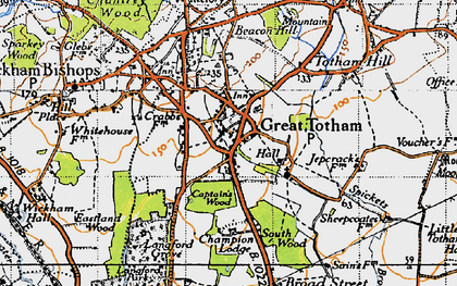 Old map of Langford Grove in 1945