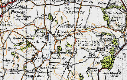 Old map of Great Urswick in 1947