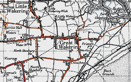Old map of Great Wakering in 1945