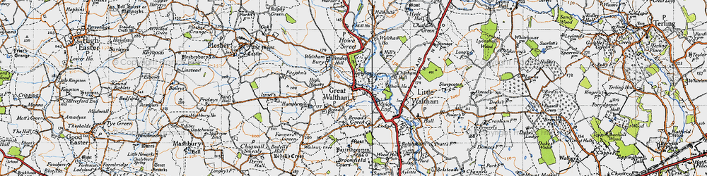 Old map of Great Waltham in 1945
