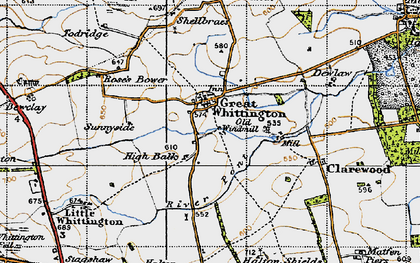 Old map of Whiggs, The in 1947