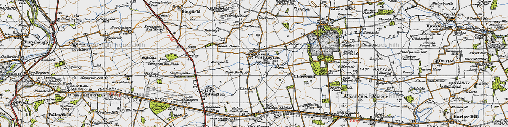 Old map of Todridge in 1947