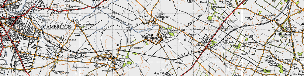 Old map of Wilbraham Temple in 1946