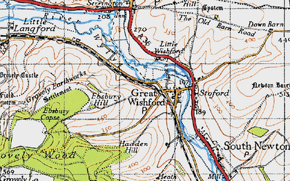 Old map of Great Wishford in 1940