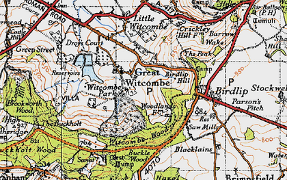 Old map of Witcombe Park in 1946