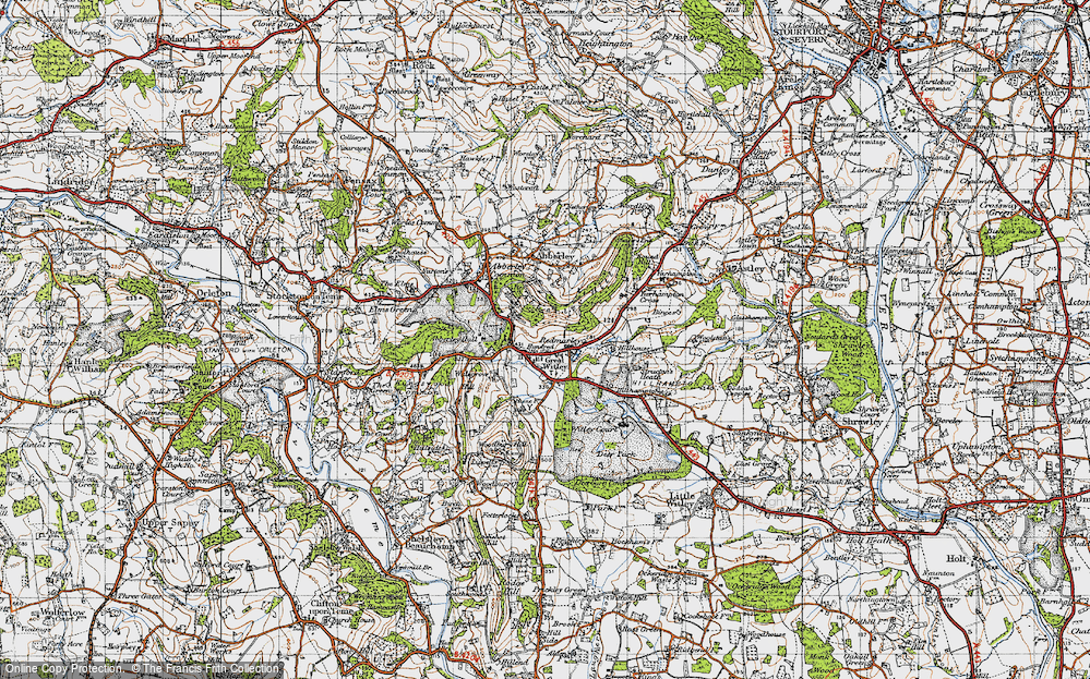 Old Map of Historic Map covering Abberley Hall in 1947