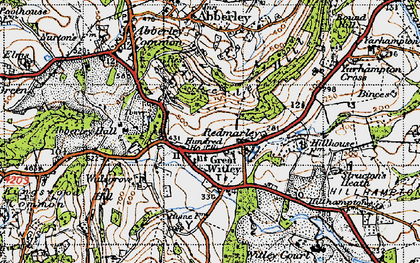 Old map of Great Witley in 1947