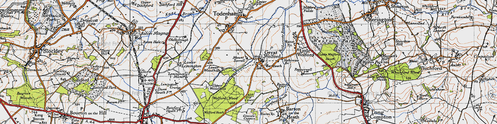 Old map of Wolford Wood in 1946