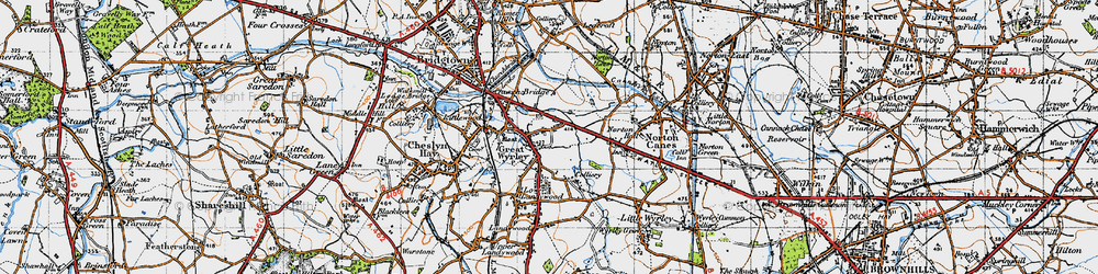 Old map of Great Wyrley in 1946