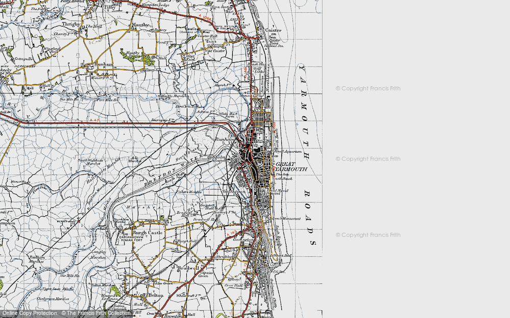 Old Map of Historic Map covering Yarmouth Roads in 1945