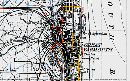 Old map of Yarmouth Roads in 1945