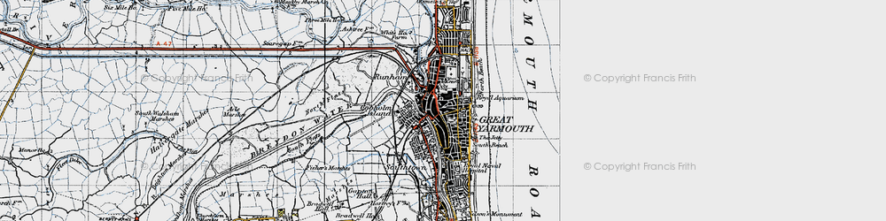 Old map of Great Yarmouth in 1945