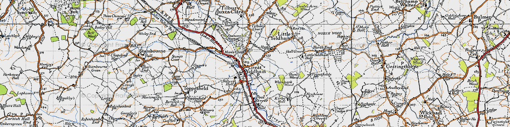 Old map of Great Yeldham in 1946