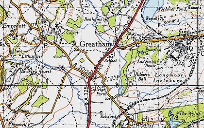 Old map of Woolmer Pond in 1940