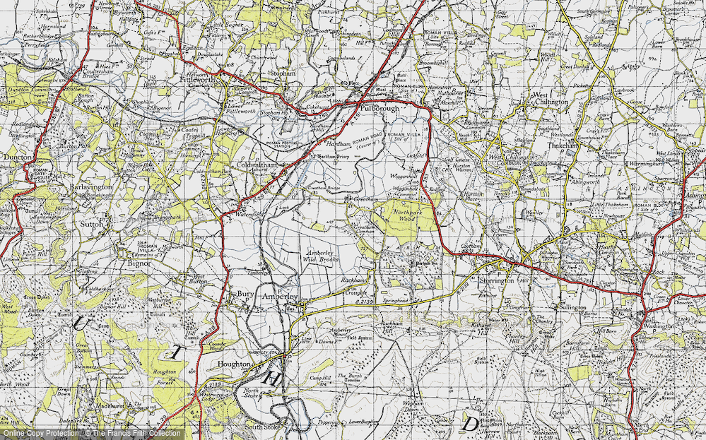 Old Map of Historic Map covering Arun Valley, The in 1940