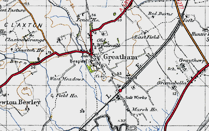 Old map of Greatham in 1947