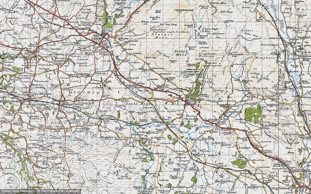 Old Map of Historic Map covering Newby Moor in 1947
