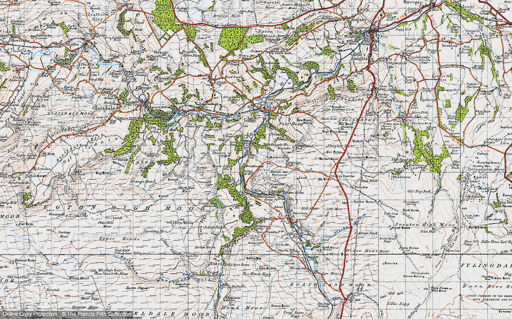 Old Map of Historic Map covering Beck Hole in 1947