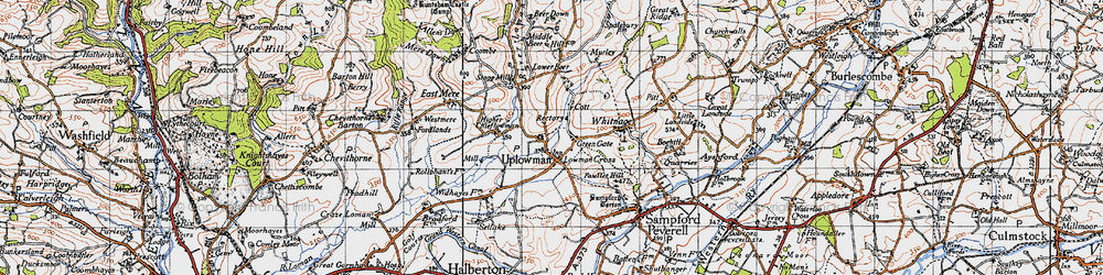 Old map of Wood in 1946