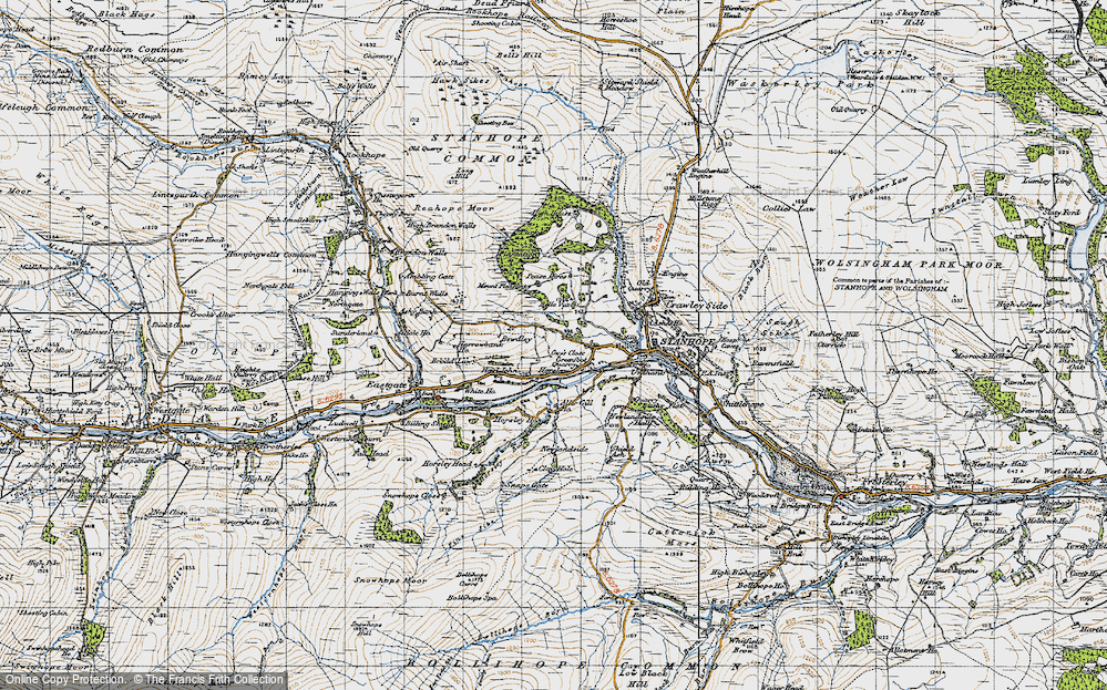 Old Map of Historic Map covering Aller Gill in 1947