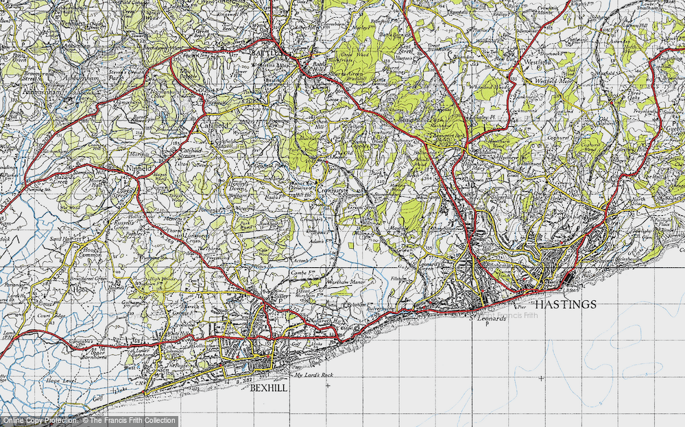 Old Map of Historic Map covering 1066 Country Walk Bexhill Link in 1940