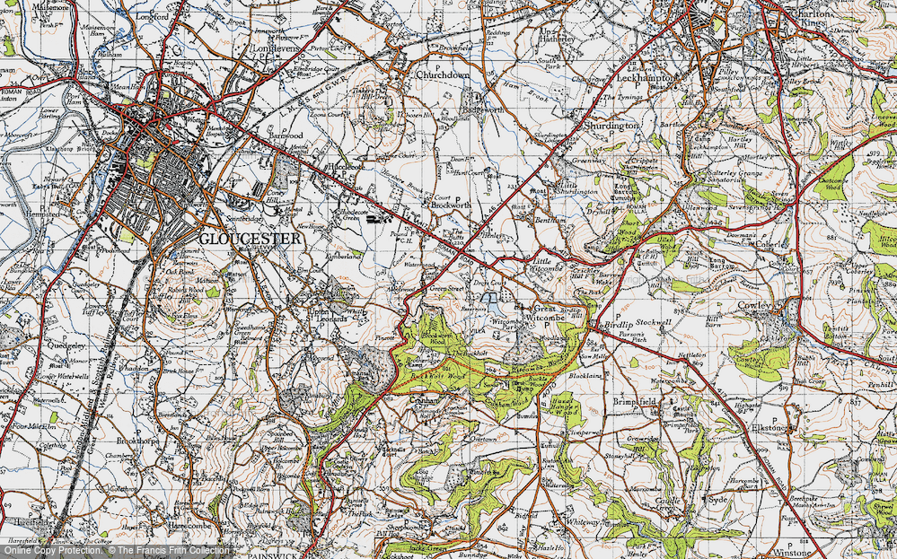 Old Map of Historic Map covering Gloucestershire in 1946