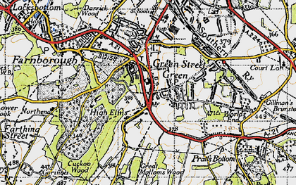 Old map of Green Street Green in 1946