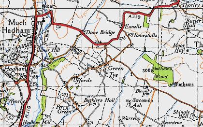 Old map of Green Tye in 1946