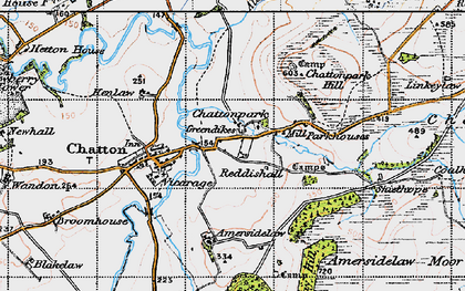 Old map of Amersidelaw Moor in 1947