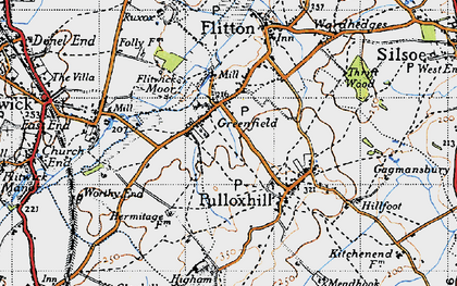 Old map of Greenfield in 1946