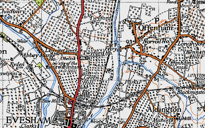Old map of Leicester Tower in 1946