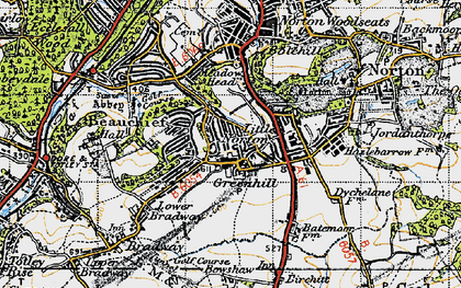 Old map of Greenhill in 1947