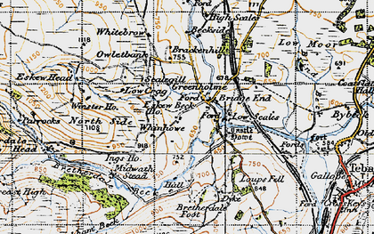 Old map of Whinash in 1947
