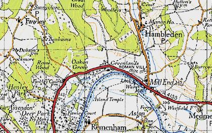 Old map of Woolleys in 1947