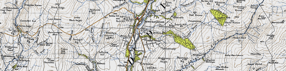 Old map of Thwartergill Head in 1947