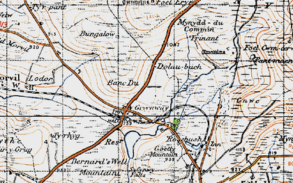 Old map of Banc Du in 1946