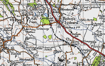 Old map of Ash Priors Common in 1946