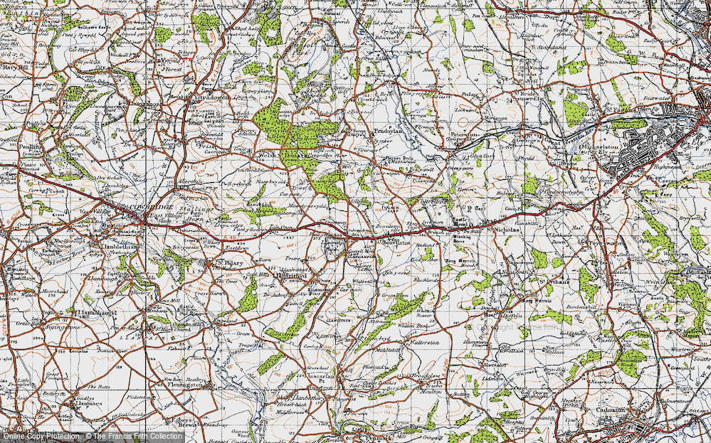 Old Map of Historic Map covering Lillypot in 1947