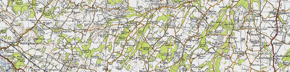 Old map of Wichling Wood in 1946