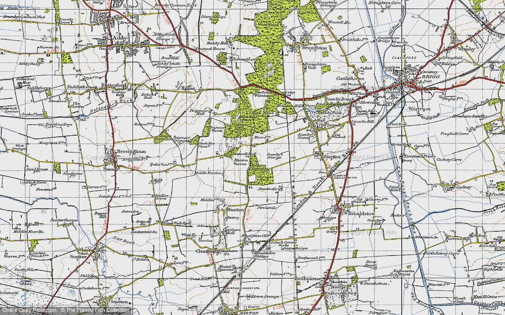 Old Map of Historic Map covering Aldham Plantn in 1947
