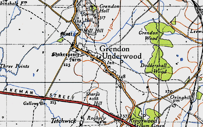 Old map of Grendon Underwood in 1946