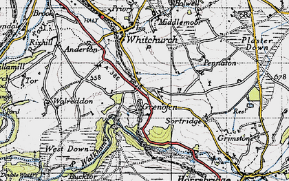 Old map of Woodtown in 1946
