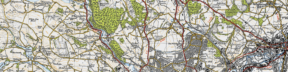 Old map of Grenoside in 1947