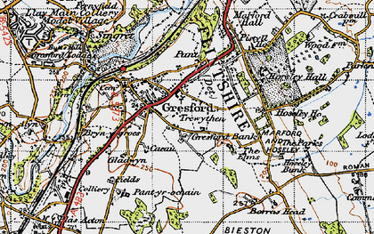 Old map of Gresford in 1947