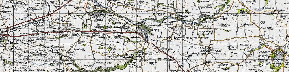 Old map of Greta Bridge in 1947