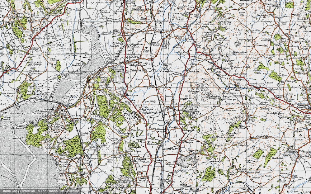 Old Map of Historic Map covering Limestone Link in 1947
