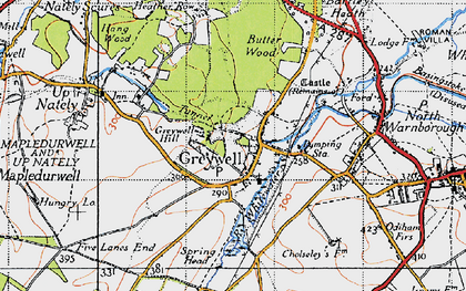 Old map of Greywell in 1940