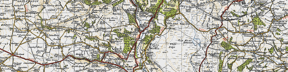 Old map of Grindleford in 1947